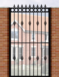 Side Gate with Flat Top, Circle Header, Railheads & Baskets