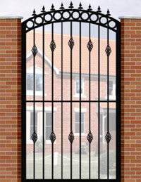 Side Gate with Curve Top, Circle Header, Railheads & Baskets