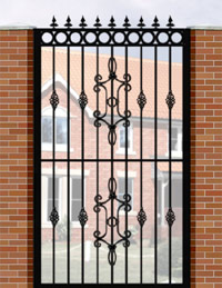 Side Gate with Flat Top, Circle Header, Railheads, Baskets & Panel