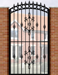 Side Gate with Curve Top, Circle Header, Railheads, Baskets & Panel
