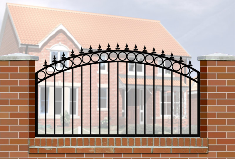 wall railing curve top circle header railheads - Wall Railings Designs